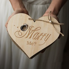 """MARRY ME"" Wood Ring Holder With Rustic Twine"