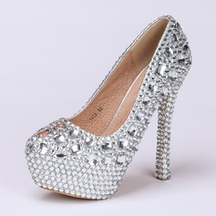 Women's Real Leather Stiletto Heel Closed Toe Pumps With Rhinestone Crystal Heel (047046172)