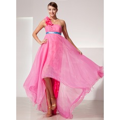 Empire One-Shoulder Asymmetrical Organza Prom Dress With Sash Flower(s)