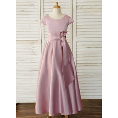 Ball-Gown/Princess Floor-length Flower Girl Dress - Satin Short Sleeves Scoop Neck (010183517)