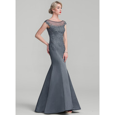 Trumpet/Mermaid Scoop Neck Floor-Length Satin Lace Mother of the Bride Dress With Beading Sequins