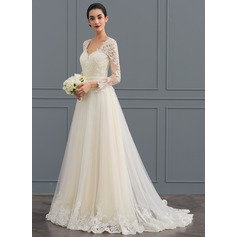 Ball-Gown V-neck Sweep Train Tulle Wedding Dress (002124280)