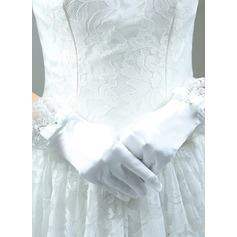 Cotton Wrist Length Bridal Gloves With Embroidery