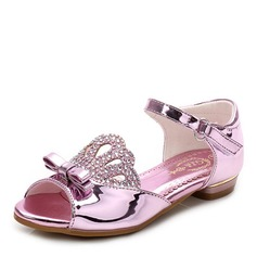 Girl's Peep Toe Leatherette Flat Heel Sandals Flats Flower Girl Shoes With Bowknot Crystal