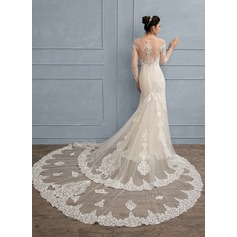 Trumpet/Mermaid Scoop Neck Royal Train Lace Wedding Dress With Beading Sequins (002111941)