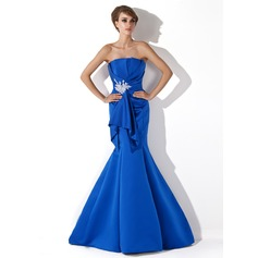 Trumpet/Mermaid Scalloped Neck Sweep Train Satin Evening Dress With Ruffle Beading Appliques Lace Sequins