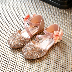 Girl's Round Toe Leatherette Flat Heel Flower Girl Shoes With Bowknot Rhinestone Velcro