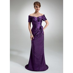 Sheath/Column Off-the-Shoulder Sweep Train Taffeta Mother of the Bride Dress With Ruffle Beading Flower(s)