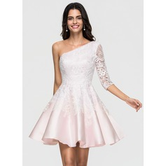 A-Line/Princess One-Shoulder Short/Mini Satin Homecoming Dress With Lace