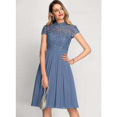 A-Line High Neck Knee-Length Chiffon Cocktail Dress