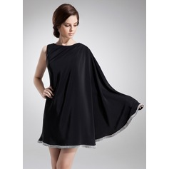 A-Line/Princess Scoop Neck Short/Mini Satin Chiffon Cocktail Dress With Beading