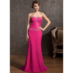 A-Line/Princess Sweetheart Sweep Train Chiffon Evening Dress With Ruffle Beading Appliques Lace