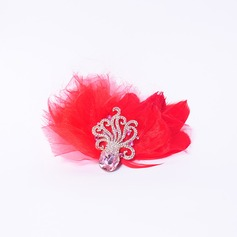 Elegante Strass/Liga/Pena Fascinators