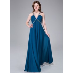 Empire V-neck Floor-Length Chiffon Prom Dress With Ruffle Beading