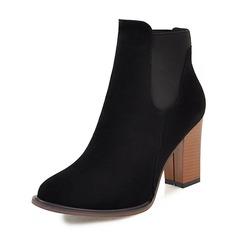 Frauen Veloursleder Stämmiger Absatz Absatzschuhe Geschlossene Zehe Stiefel Stiefelette mit Gummiband Schuhe
