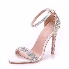Women's Leatherette Spool Heel Peep Toe Pumps With Crystal