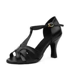 Women's Real Leather Latin With T-Strap Dance Shoes