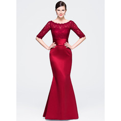 Trumpet/Mermaid Scoop Neck Floor-Length Satin Lace Evening Dress (017071564)