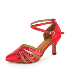 Women's Satin Sparkling Glitter Mesh Heels Ballroom With Ankle Strap Dance Shoes