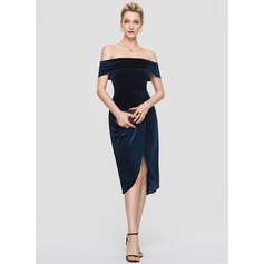 Sheath/Column Off-the-Shoulder Asymmetrical Velvet Cocktail Dress