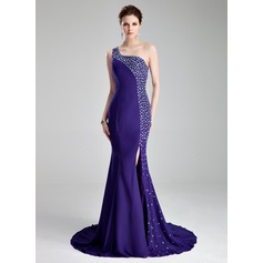Trumpet/Mermaid One-Shoulder Court Train Chiffon Prom Dresses With Beading Split Front (018019007)