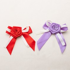 Lovely Bowknot Rose Design Satin Decorative Accessories (set of 50)