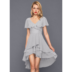 A-Line V-neck Asymmetrical Chiffon Cocktail Dress With Cascading Ruffles (016140363)