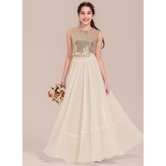 Empire Scoop Neck Floor-Length Chiffon Junior Bridesmaid Dress With Lace