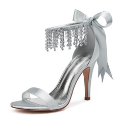 Women's Silk Like Satin Stiletto Heel Peep Toe Pumps Sandals With Bowknot Rhinestone Lace-up Tassel Pearl