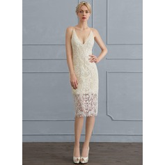 Sheath/Column V-neck Knee-Length Lace Wedding Dress