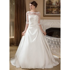 A-Line/Princess Strapless Court Train Satin Wedding Dress With Ruffle