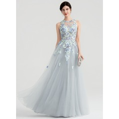 A-Line/Princess Scoop Neck Floor-Length Tulle Evening Dress (017147936)
