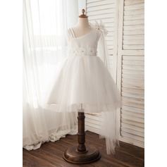 A-Line/Princess Knee-length Flower Girl Dress - Tulle Sleeveless Straps With Flower(s) (010109483)