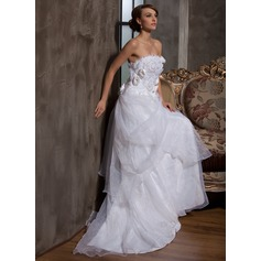 A-Line/Princess Strapless Court Train Satin Organza Wedding Dress With Ruffle Flower(s)