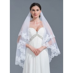 One-tier Lace Applique Edge Waltz Bridal Veils With Applique (006115455)