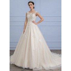Robe Marquise Col rond Traîne moyenne Tulle Dentelle Robe de mariée