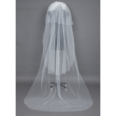 Four-tier Cathedral Bridal Veils With Cut Edge