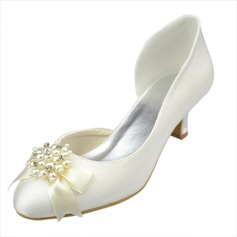 Women's Satin Kitten Heel Closed Toe Pumps With Bowknot Imitation Pearl Rhinestone (047063627)