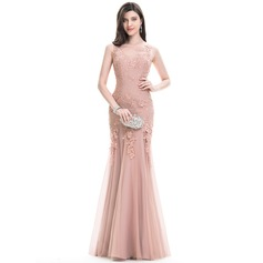 Trumpet/Mermaid Scoop Neck Floor-Length Tulle Lace Evening Dress (017105915)