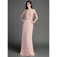 Sheath/Column Sweetheart Watteau Train Chiffon Prom Dress With Lace Beading