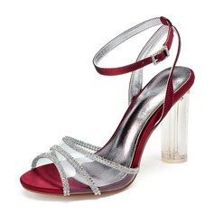 Women's Silk Like Satin Stiletto Heel Peep Toe Pumps Sandals With Rhinestone Crystal Heel