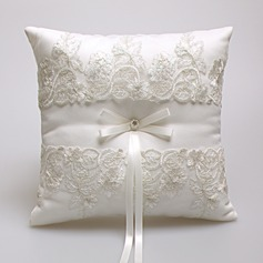 Gorgeous Ring Pillow in Satin/Lace With Bow/Faux Pearl