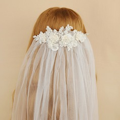 One-tier Cut Edge Elbow Bridal Veils With Satin Flower/Faux Pearl