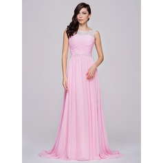A-Line/Princess Scoop Neck Court Train Chiffon Prom Dresses With Ruffle Beading