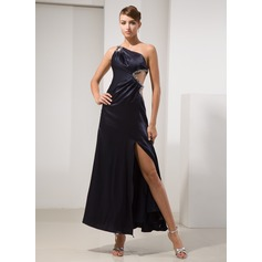 A-Line/Princess One-Shoulder Ankle-Length Charmeuse Prom Dress With Beading Split Front