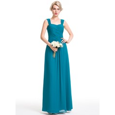 A-Line/Princess Sweetheart Floor-Length Chiffon Bridesmaid Dress With Ruffle (007087731)