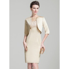 Empire Scoop Neck Knee-Length Satin Tulle Mother of the Bride Dress With Beading Appliques Lace Sequins