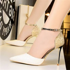 Women's Sparkling Glitter Stiletto Heel Sandals Pumps Closed Toe With Sequin Split Joint shoes (085209463)