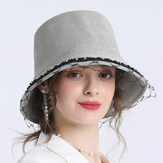 Ladies' Simple/Fancy Papyrus With Tulle Straw Hats/Beach/Sun Hats