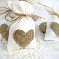 Favor Bags With Heart Charm (Set of 12)